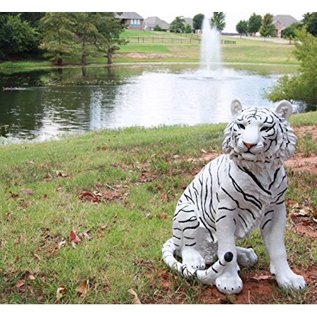 "Ebros Large 20"" Tall Realistic White Siberian Tiger Sitting On Guard Decorative Resin Statue As Guest Greeter Welcome Home Decor Figurine As Tundra Jungle Giant Cat Apex Predator Sculpture"