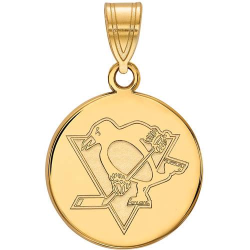 LogoArt NHL Pittsburgh Penguins 14kt Gold-Plated Sterling Silver Medium Disc Pendant