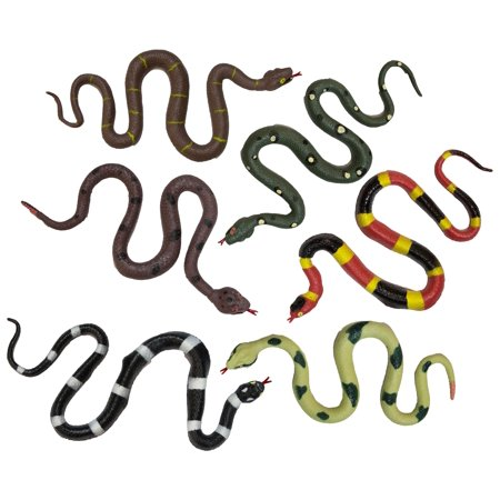 Party Pack! Set of 6 16 Inch Realistic Soft Rubber Stretchy Stretch Snakes (Realistic Rubber Snake)