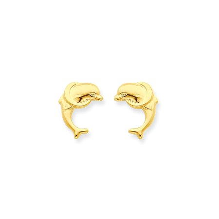 Yellow Gold Dolphin Animal - 14k Yellow Gold Dolphin Post Stud Earrings Animal Sea Life Gifts For Women For Her