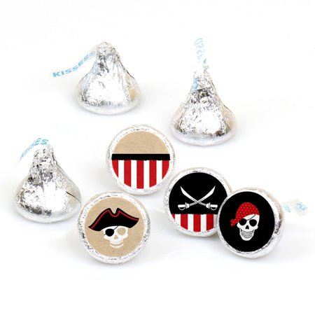 Beware of Pirates - Pirate Birthday & Halloween Party Round Candy Sticker Favors - Labels Fit Hershey's Kisses -108 Ct](Halloween Birthday Clipart)