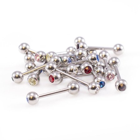Stone Package (Straight Barbells package of 18 with 16g with two Jewels Mix of 9 jewels)