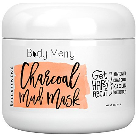 Body Merry Brightening Charcoal Mud Mask  Single Pack  Brightening Charcoal Mud Mask
