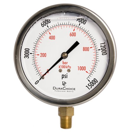 """4"""" Oil Filled Pressure Gauge - Stainless Steel Case, Brass, 1/4"""" NPT, Lower Mount"