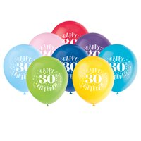Latex Fun Happy 30th Birthday Balloons, Assorted, 12 in, 8ct