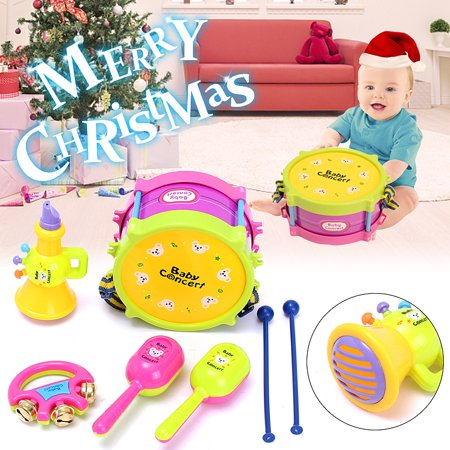 5Pcs Kids Baby Roll Drum Musical Instruments Band Kit Children Toy Gift Set Unisex Colorful Educational Learning and Development Toys Gift for Toddler Infant Newborn Children Kids