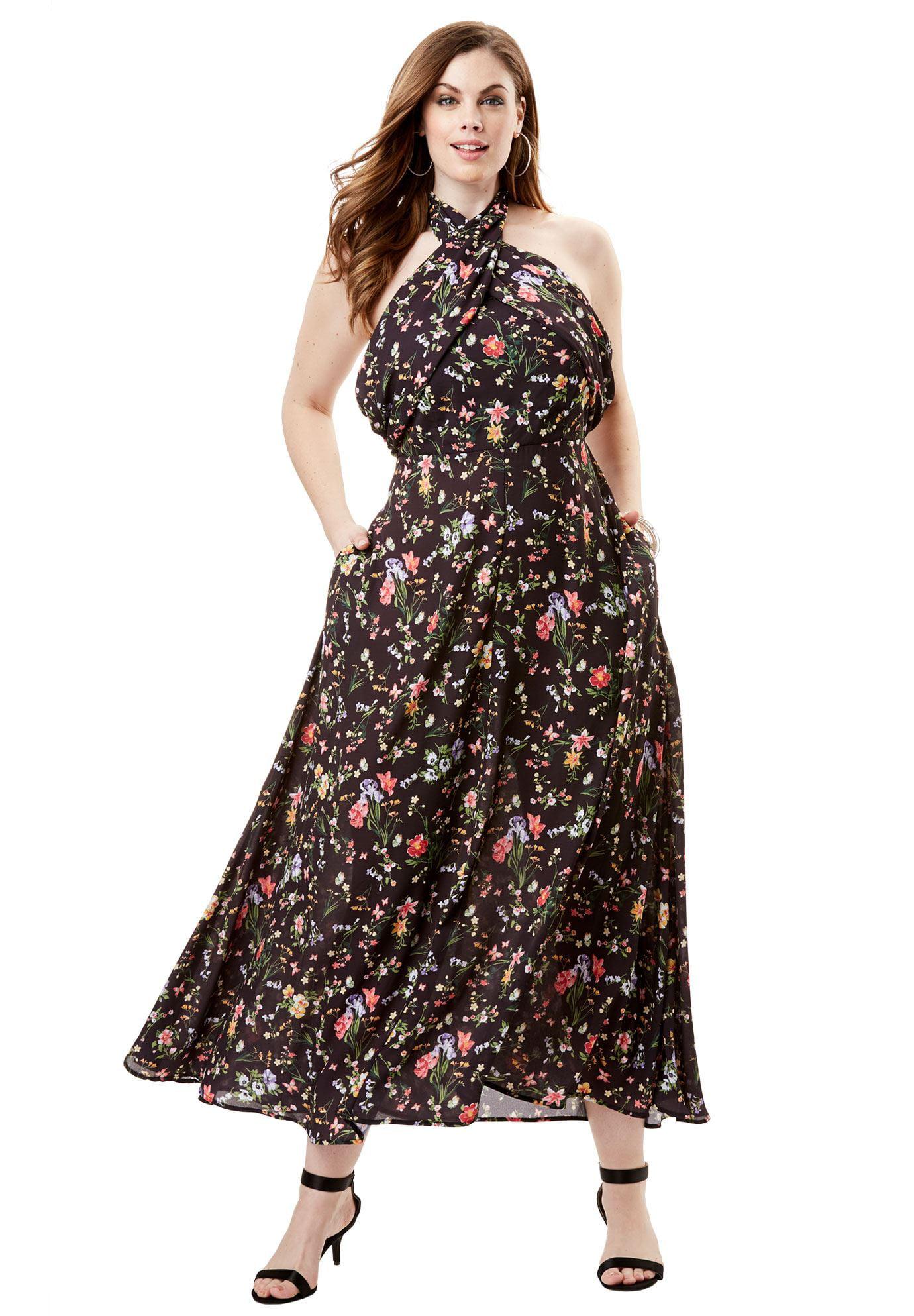Roamans - Plus Size Wrapped Halter Maxi Dress - Walmart.com