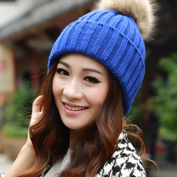 New Fashion Women Ladies Winter Fur Ball Warm Hat Crochet Knitted Wool Cap by Womens Wool Coats