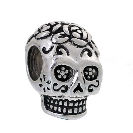 Sexy Sparkles Day of the Dead Sugar Skull Bead Halloween European Charm Fits Compatible Bracelet and Bangle](Halloween Kandi Bracelets)