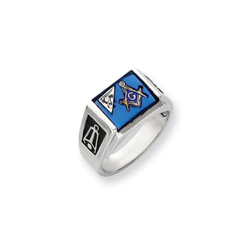 14k White Gold Synthetic Spinel & H-I SI2 Diamond Mens Masonic Ring Wt- 0.011ct