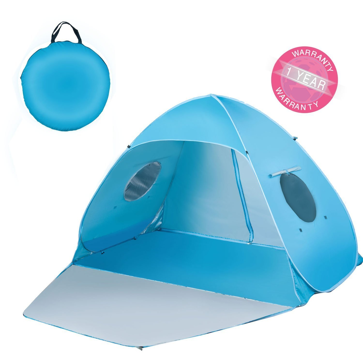 iCorer Extra Large Pop Up 3-Person Beach Tent, Light Blue