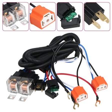 H4 Relay Wiring Harness H6054 H4 Socket Plugs, 9003 Headlamp Light Bulb Ceramic Socket Plugs Relay Harness Kit for 7