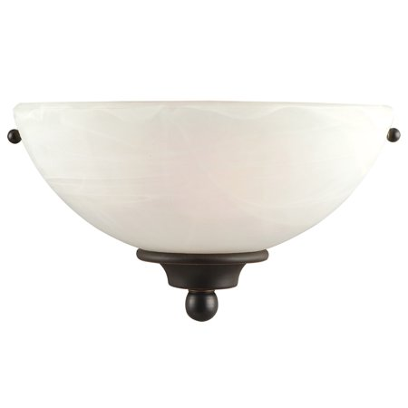 Design House 514554 Millbridge 1-Light Wall Sconce, Alabaster Glass, Oil Rubbed Bronze ()