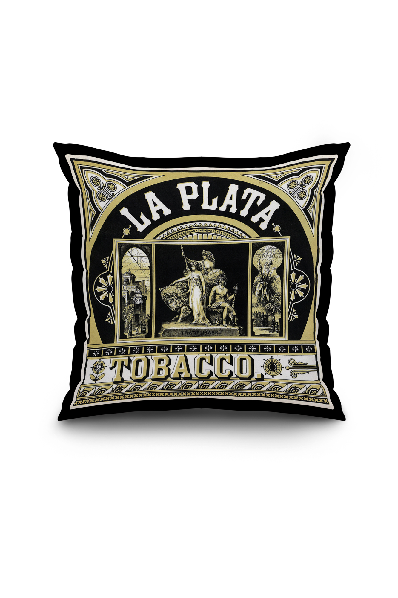 la plata brand tobacco label  18x18 spun polyester pillow  black border