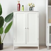 Gymax Bathroom Floor Storage Cabinet Double Door Kitchen Cupboard Shoe Cabinet White