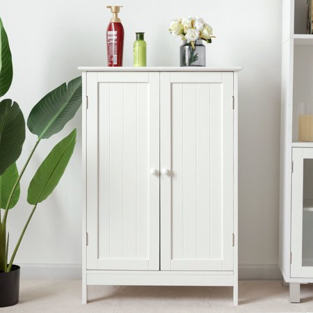 Gymax Bathroom Floor Storage Cabinet Double Door Kitchen Cupboard Shoe Cabinet White ()