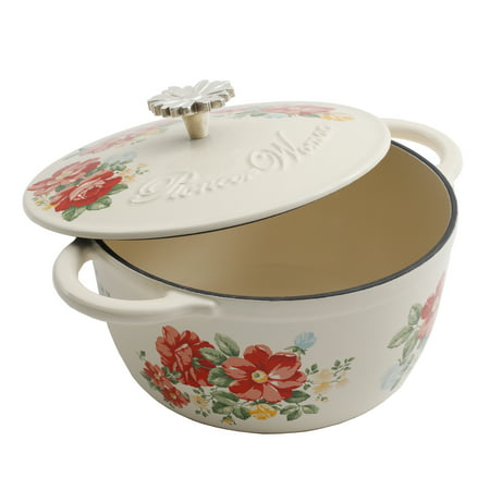 The Pioneer Woman Timeless Beauty Vintage Enameled Cast Iron 3 Quart Floral Casserole Dish with