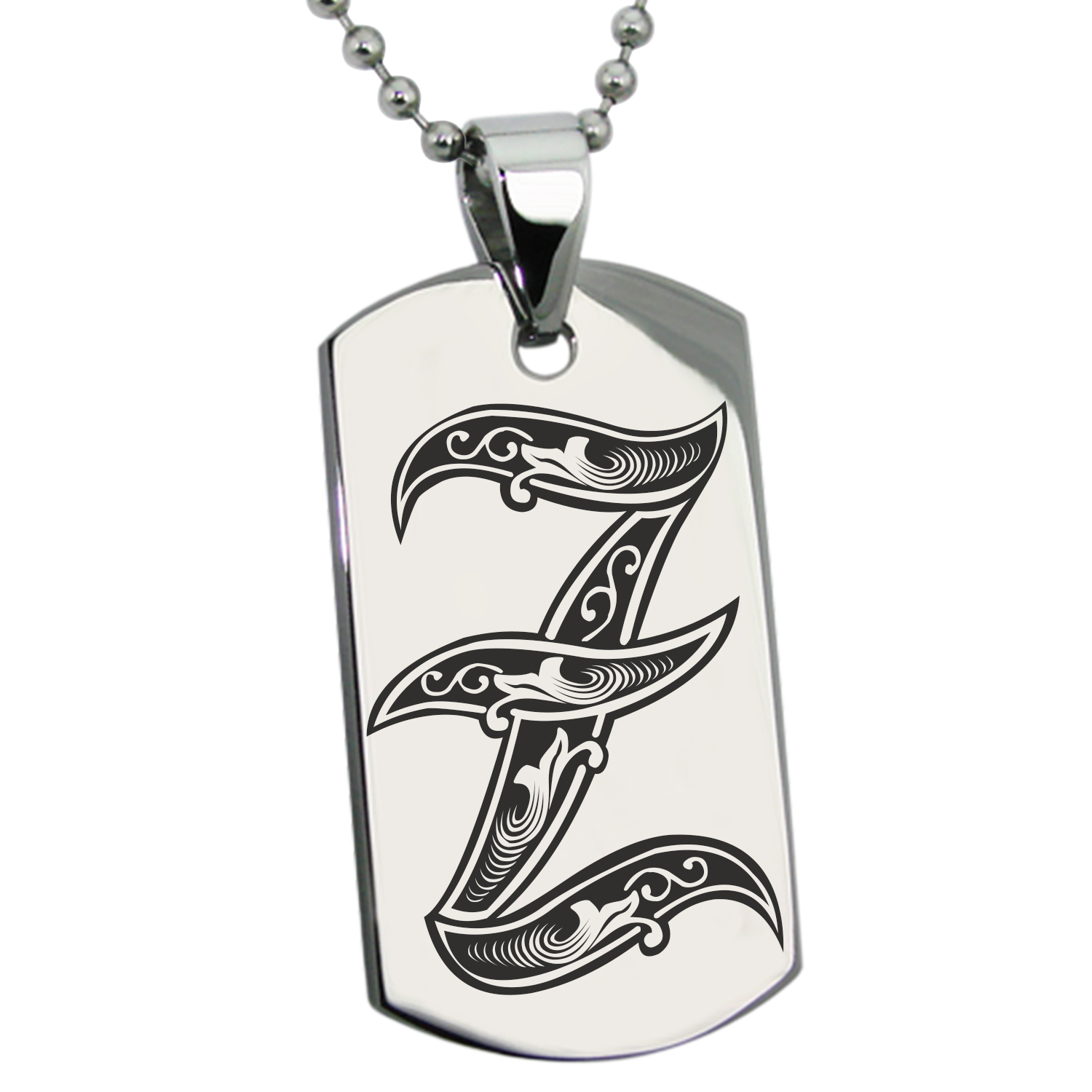 Stainless Steel Letter Z Initial Royal Monogram Engraved Dog Tag Pendant
