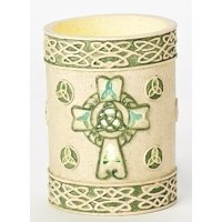 """Roman 5"""" Irish Inspired Celtic Knot Religious Flameless St. Patrick's Day Candle"""