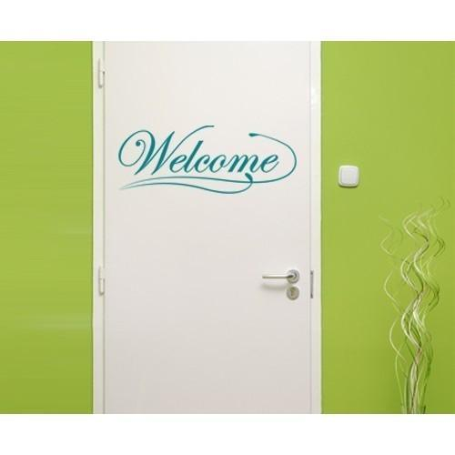 Welcome Wall Decal Vinyl Art Home Decor Orange 16in x 6in