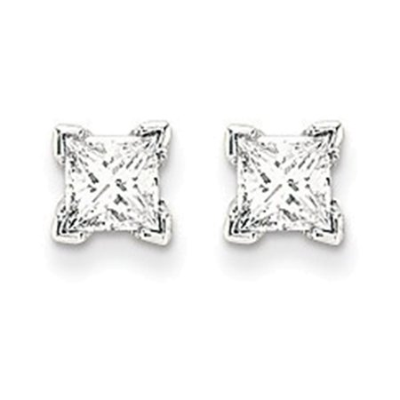 14k White Gold VS Quality Complete Princess Cut Diamond Earrings Diamond quality VS (VS2 clarity, G-I color)
