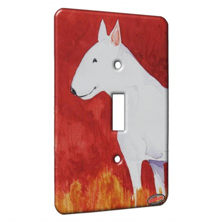 KuzmarK™ Single Gang Toggle Switch Wall Plate - White Bull Terrier with Autumn Colors Dog Art by Denise Every