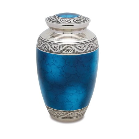 Urnsdirect2u Mediterranean Blue Adult Urn, 220 cubic inches