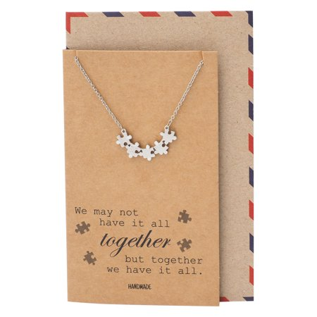 Quan Jewelry Puzzle Piece Friendship Necklace, Great Mothers Gift Ideas, Sisters and Friends Charm with Inspiring Family Quote Card, Autism Awareness Jewelry](Necklace Ideas)