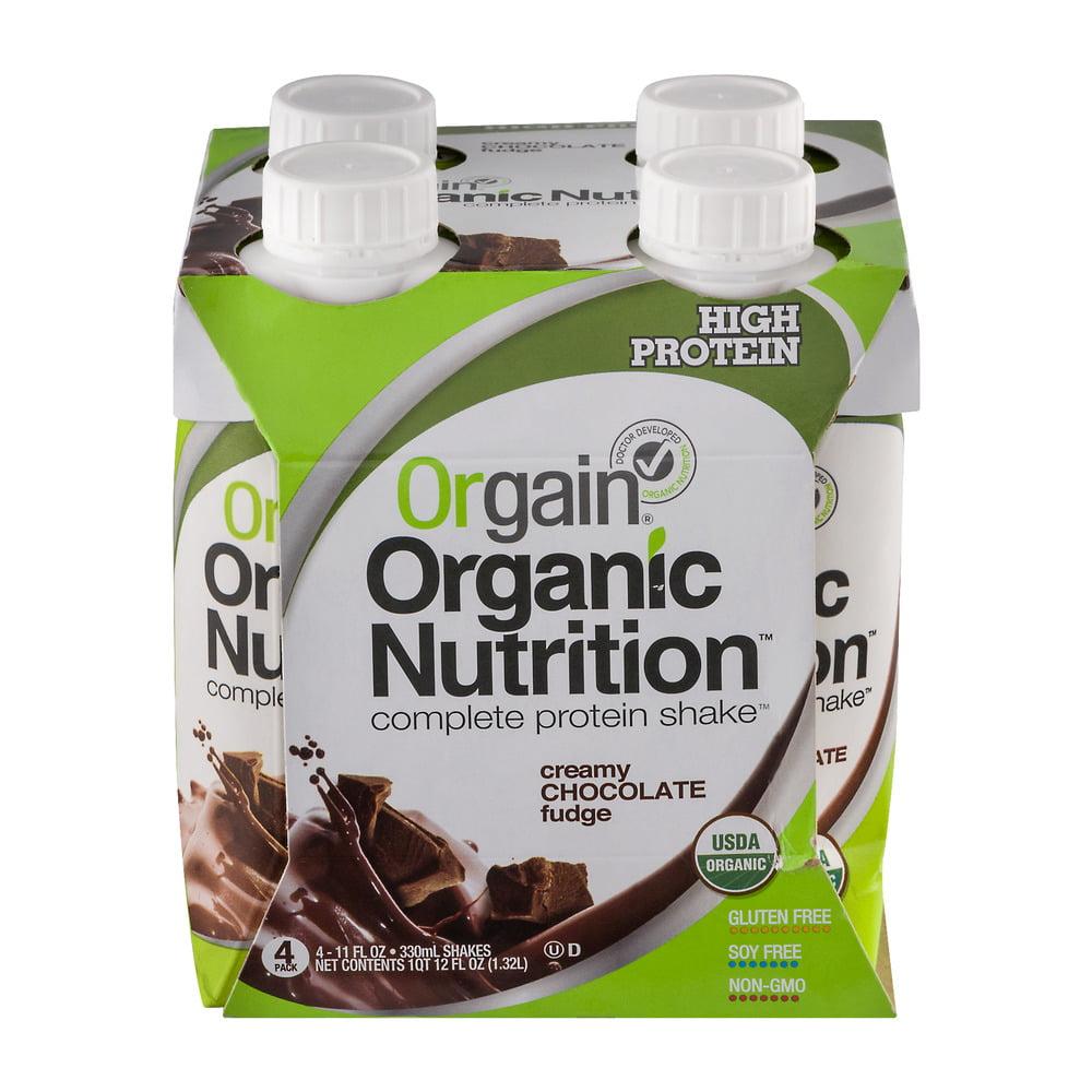 Orgain Organic Creamy Chocolate Fudge Nutritional Shake, 4 ct / 11 fl oz