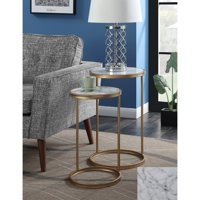 Convenience Concepts Gold Coast Faux Marble Nesting End Tables, Multiple Finishes