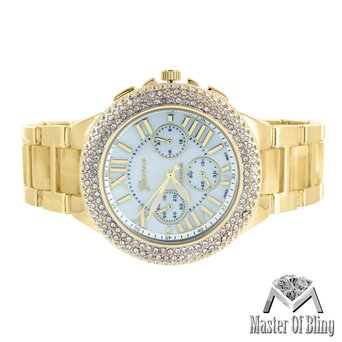 Lab Diamond Bezel Watch Mens 14k Gold Tone Steel Back Authentic Geneva Brand