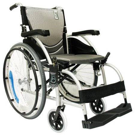 Karman Healthcare S-105 Ergonomic Ultra Lightweight Manual Wheelchair, Pearl Silver, 18 Inches Seat Width