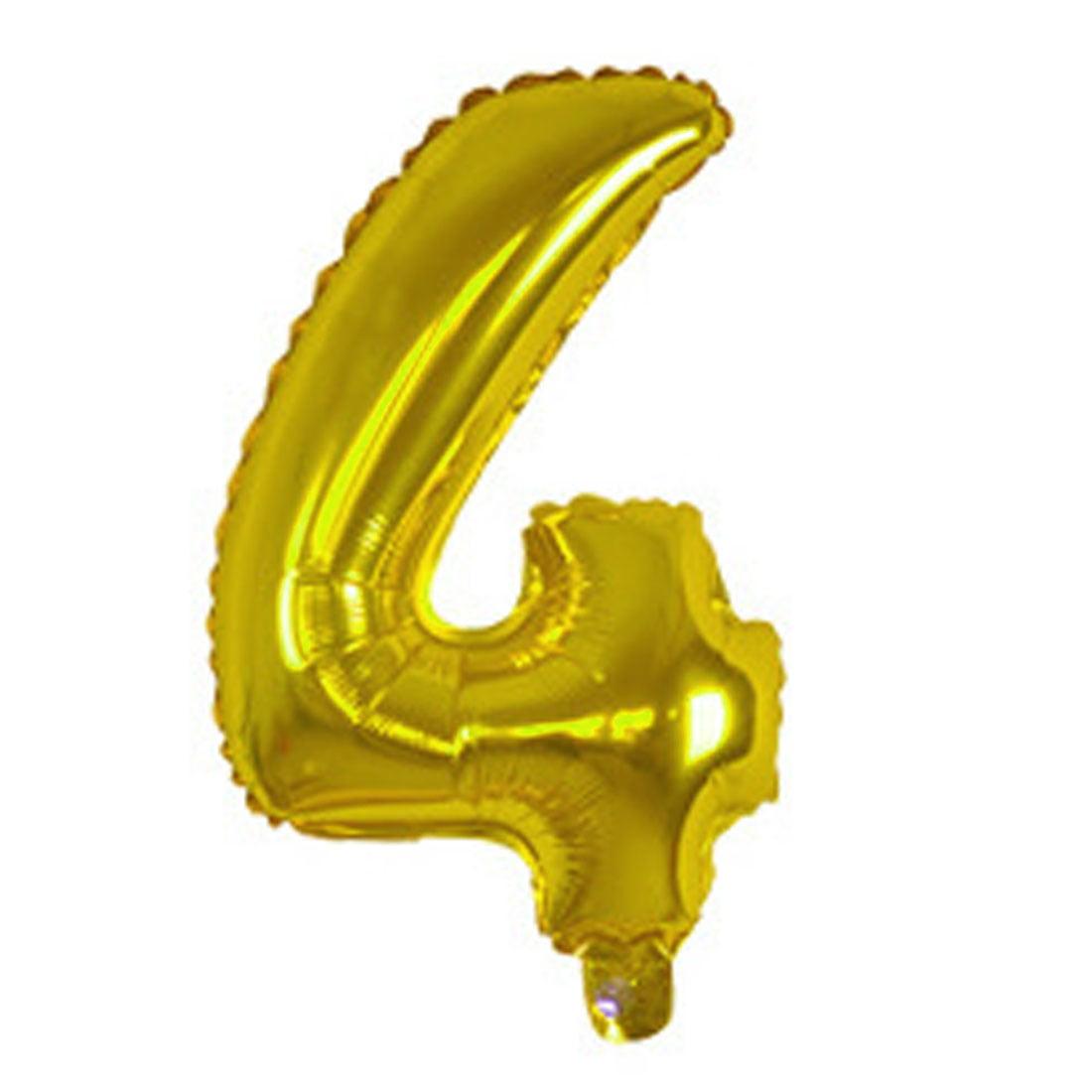 "Unique Bargains Foil Number 4 Shape Helium Balloon Birthday Wedding Decor Gold Tone 16"""