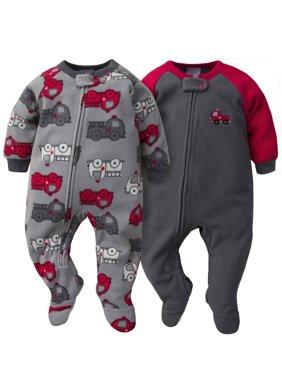 Gerber Baby Boys Microfleece Blanket Sleeper Pajamas, 2-Pack