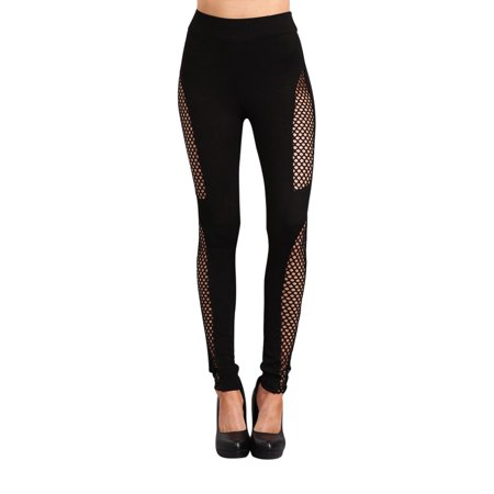 2Chique Boutique Women's High Waisted Black Leggings with Fishnet Side Panels (small) (Neon Fishnet Leggings)