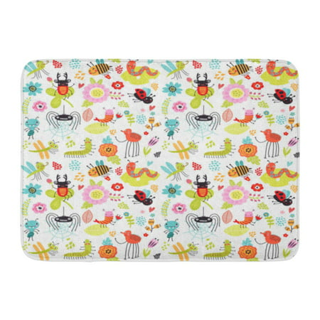 GODPOK Floral Bug Insects and Flowers Baby with Beetles Childish Bee Rug Doormat Bath Mat 23.6x15.7 inch Bug Rug Baby