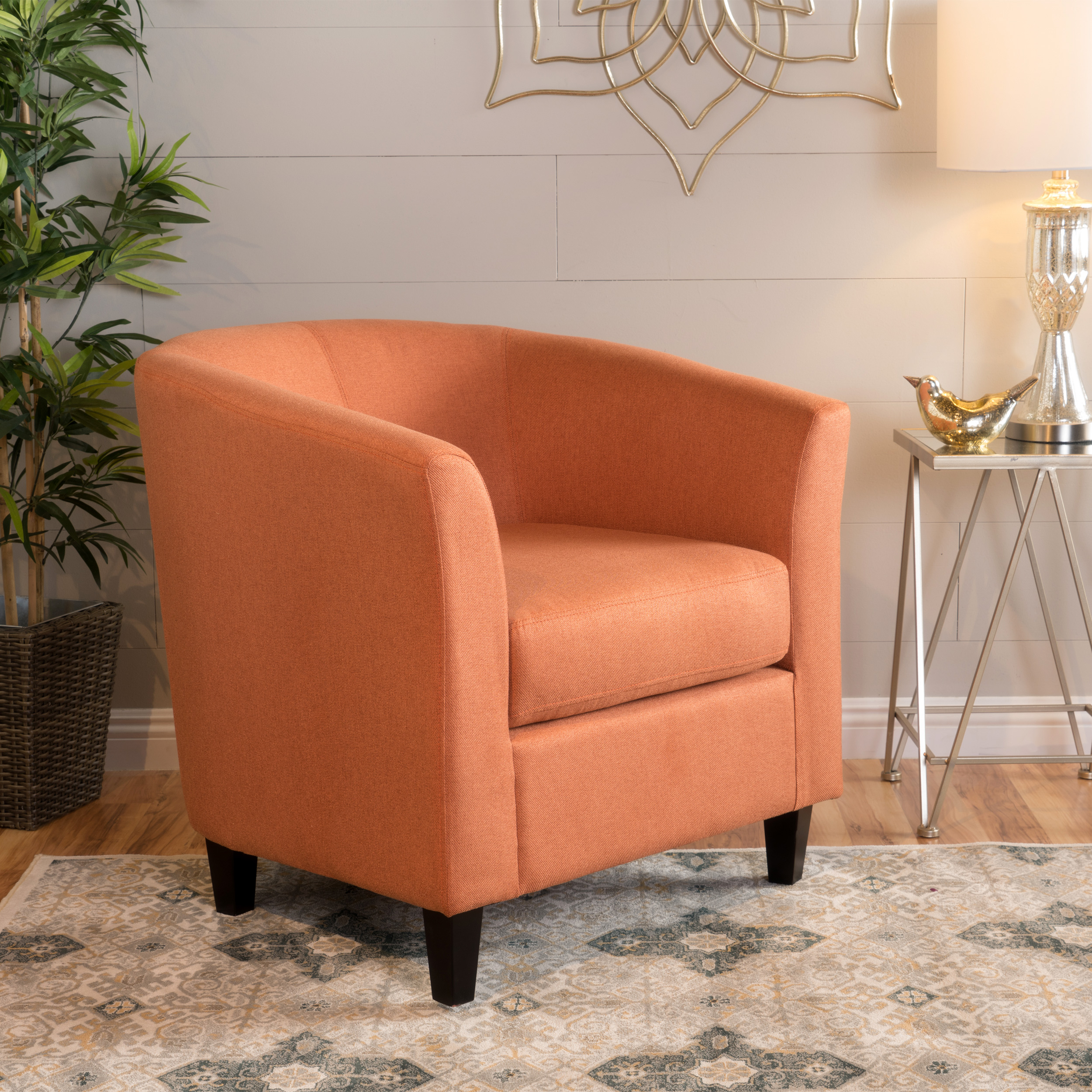 Noble House Lissa Fabric Club Accent Chair, Orange