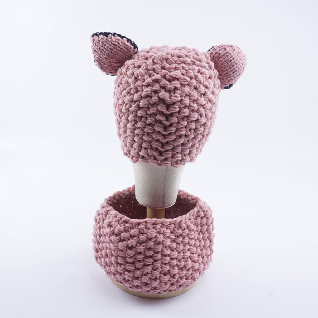 Kids Children Warm Squirrel Animal Hat Knitted Coif Hood Scarf Cap Beanies