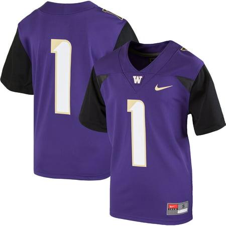 new concept a8dc3 7463f #1 Washington Huskies Nike Youth Team Replica Football Jersey - Purple