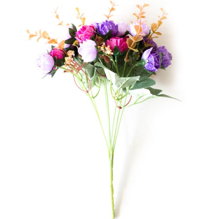 KABOER 21 Heads Artificial Silk Diamond Rose Flowers for Home Office Desk Decor