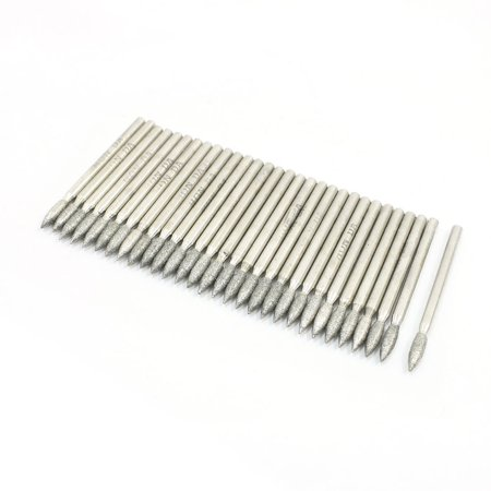30pcs 45mm x 3mm Tapered Nose Diamond Coated Grinding Pins