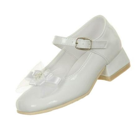 Rain Kids Little Girls White Patent Bow Glittery Stud Dress Shoes 6.5-10 Toddler - White Toddler Dress Shoes