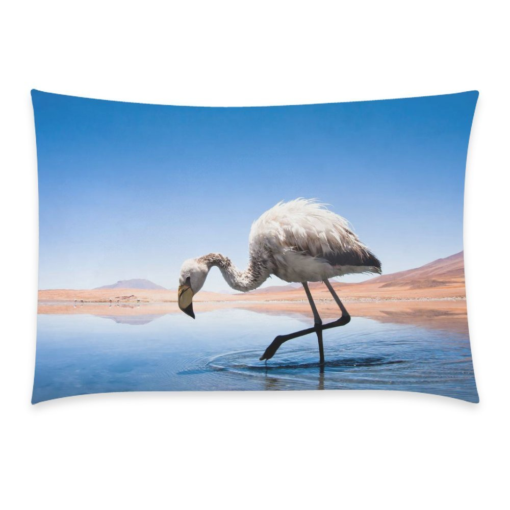 ZKGK Beauty Pink Flamingo Bird in the Lake Pillowcase for Couch Bed 20 x 30 Inches,Blue Sky Cloud Grace Soft Comfortable Pillow Cover Case Shams Decorative
