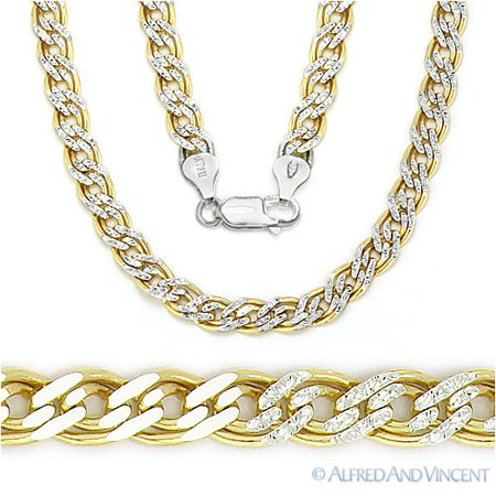 Double-Curb 5mm Chain Link Necklace in  925 Sterling Silver w/ 14k Yellow  Gold Plating