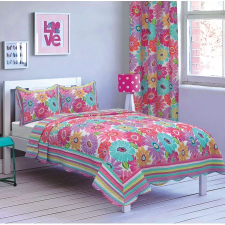 All American Collection New 2pc Flower Printed Bedspread Set Flower Bedding Collection
