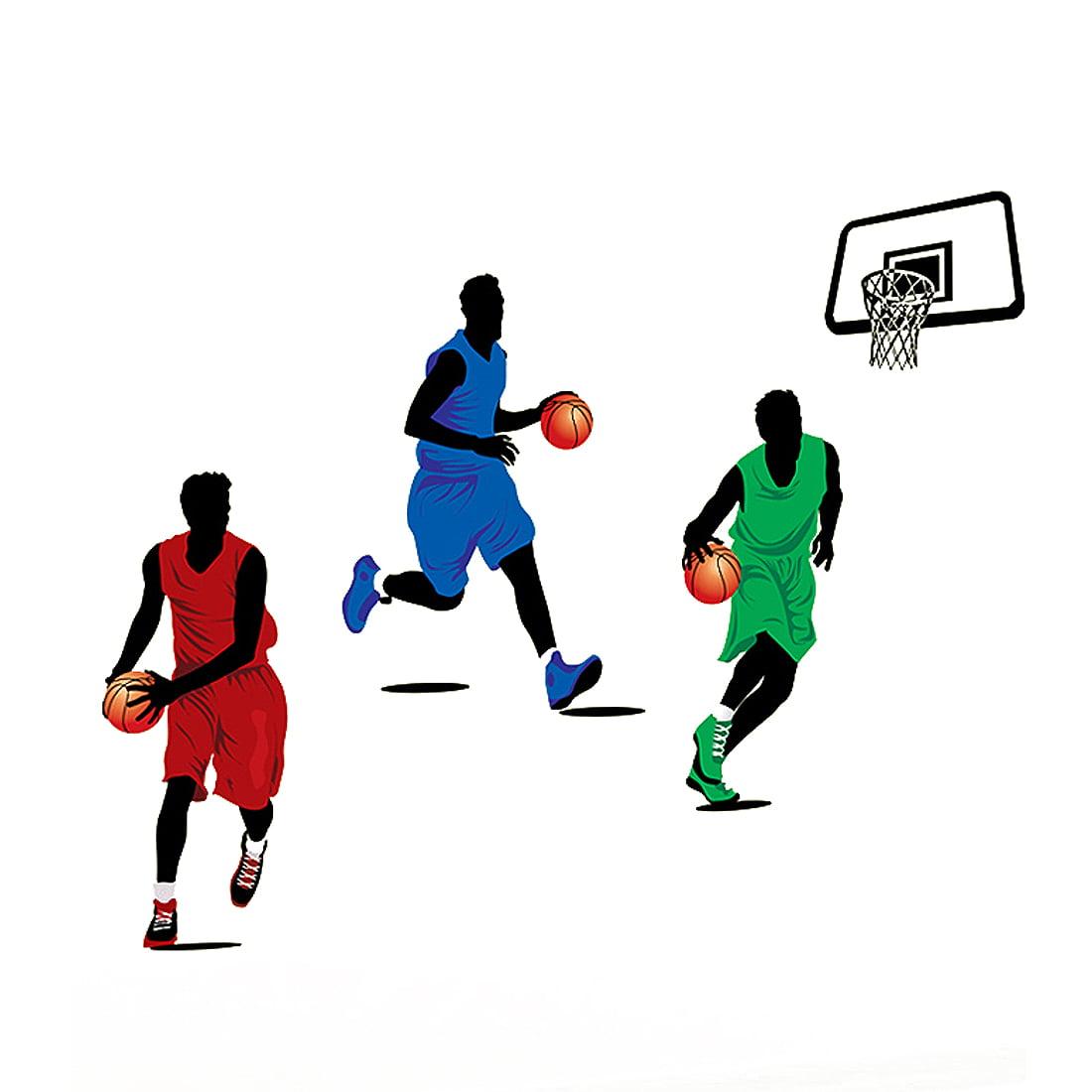 Living Room Street Basketball Pattern Wall Sticker Decal Mural