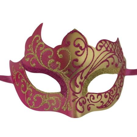 Hot Pink Gold Unique Venetian Masquerade Mardi Gras Halloween Prom - Unique Halloween Masks
