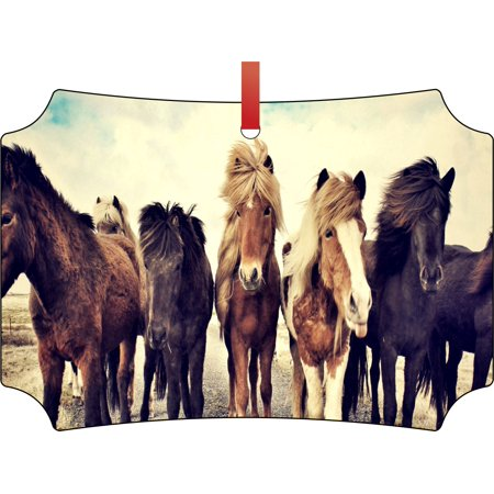 Horse Ornaments Christmas Horse Trail Rustic Woodsy Style Double Sided Elegant Aluminum Glossy Christmas Ornament Tree Decoration - Unique Modern Novelty Tree Décor - Rustic Christmas Tree Ornaments