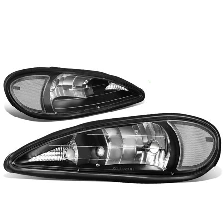 For 99-05 Pontiac Grand Am Pair OE Style Headlight Black Housing Clear Side Headlamps 00 01 02 03 04 Left+Right