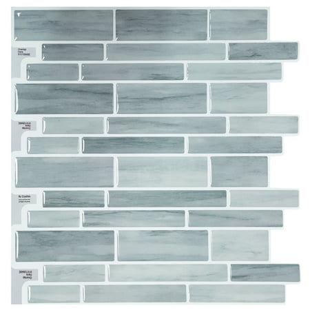 "Crystiles Peel Stick DIY Backsplash Tile Stick-on Vinyl Wall Tile Kitchen Bathroom, Item #91010848, 10"" X 10"", 6 Sheets"